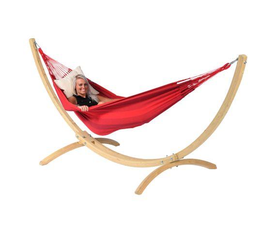 Hangmat met Standaard Eénpersoons 'Wood & Dream' Red