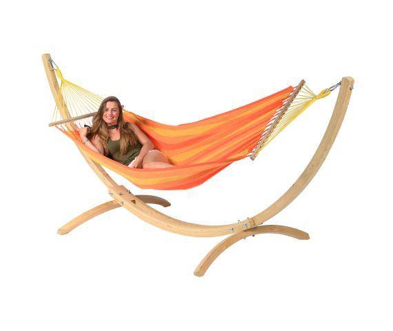 Hangmat met Standaard Eénpersoons 'Wood & Relax' Orange