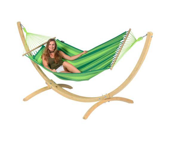 Hangmat met Standaard Eénpersoons 'Wood & Relax' Green