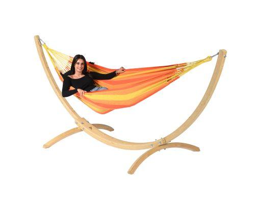 Hangmat met Standaard Eénpersoons 'Wood & Dream' Orange