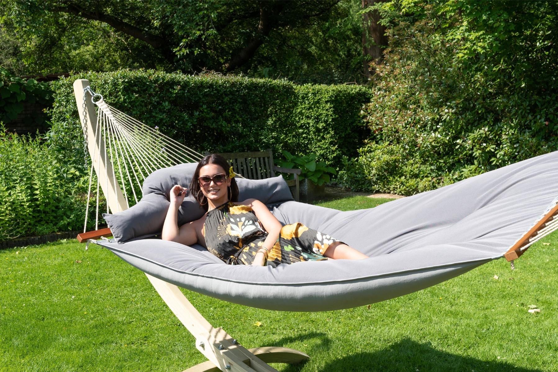 Hangmat met Standaard Familie 'Wood & Big Fat' Grey