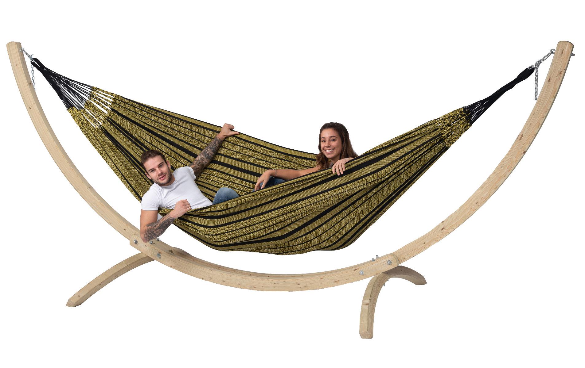 Hangmat met Standaard Familie 'Wood & Black Edition' Gold - Zwart - Tropilex �