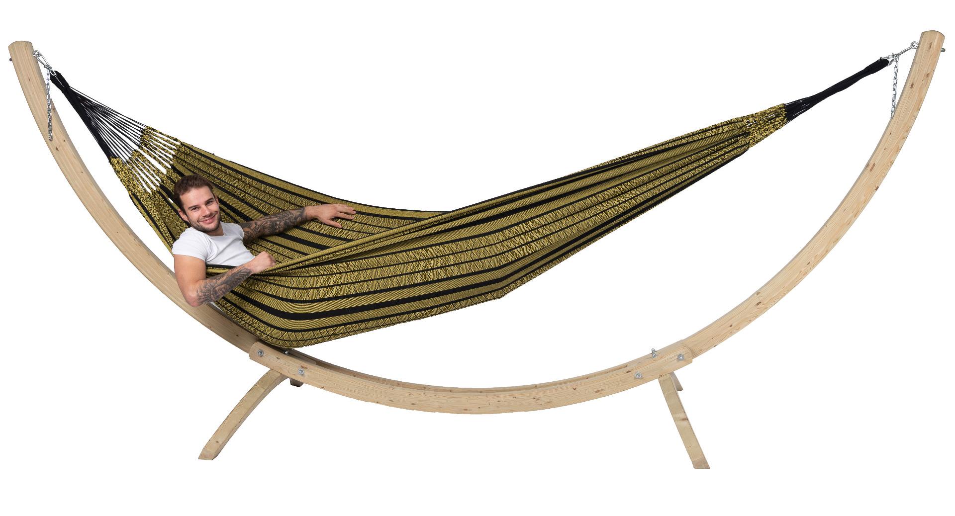 Hangmat met Standaard Familie 'Wood & Black Edition' Gold