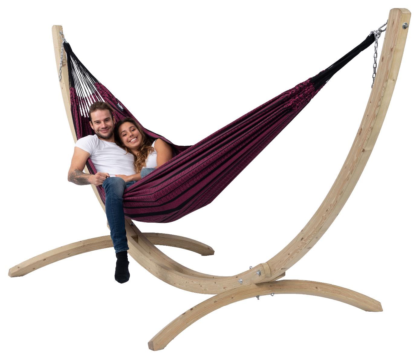 Hangmat met Standaard Familie 'Wood & Black Edition' Rose