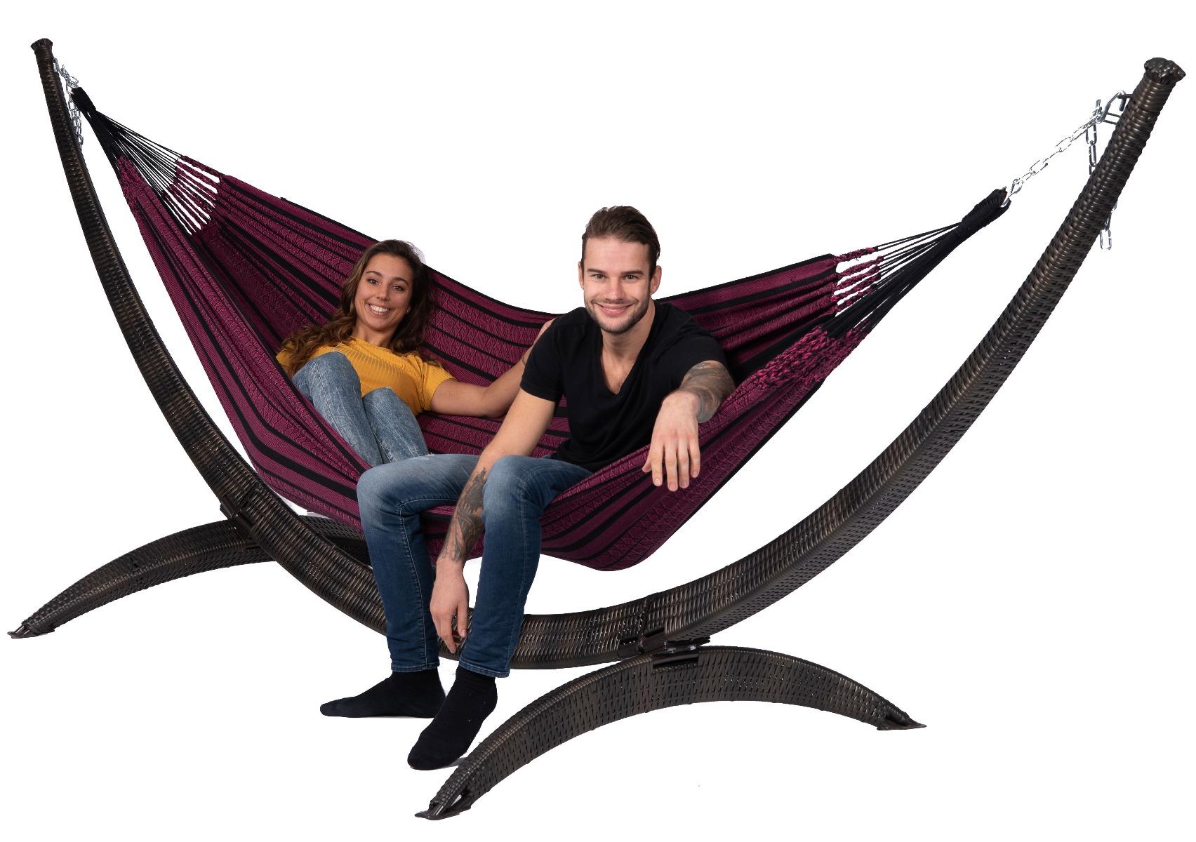 Hangmat met Standaard Familie 'Wicker & Black Edition' Rose