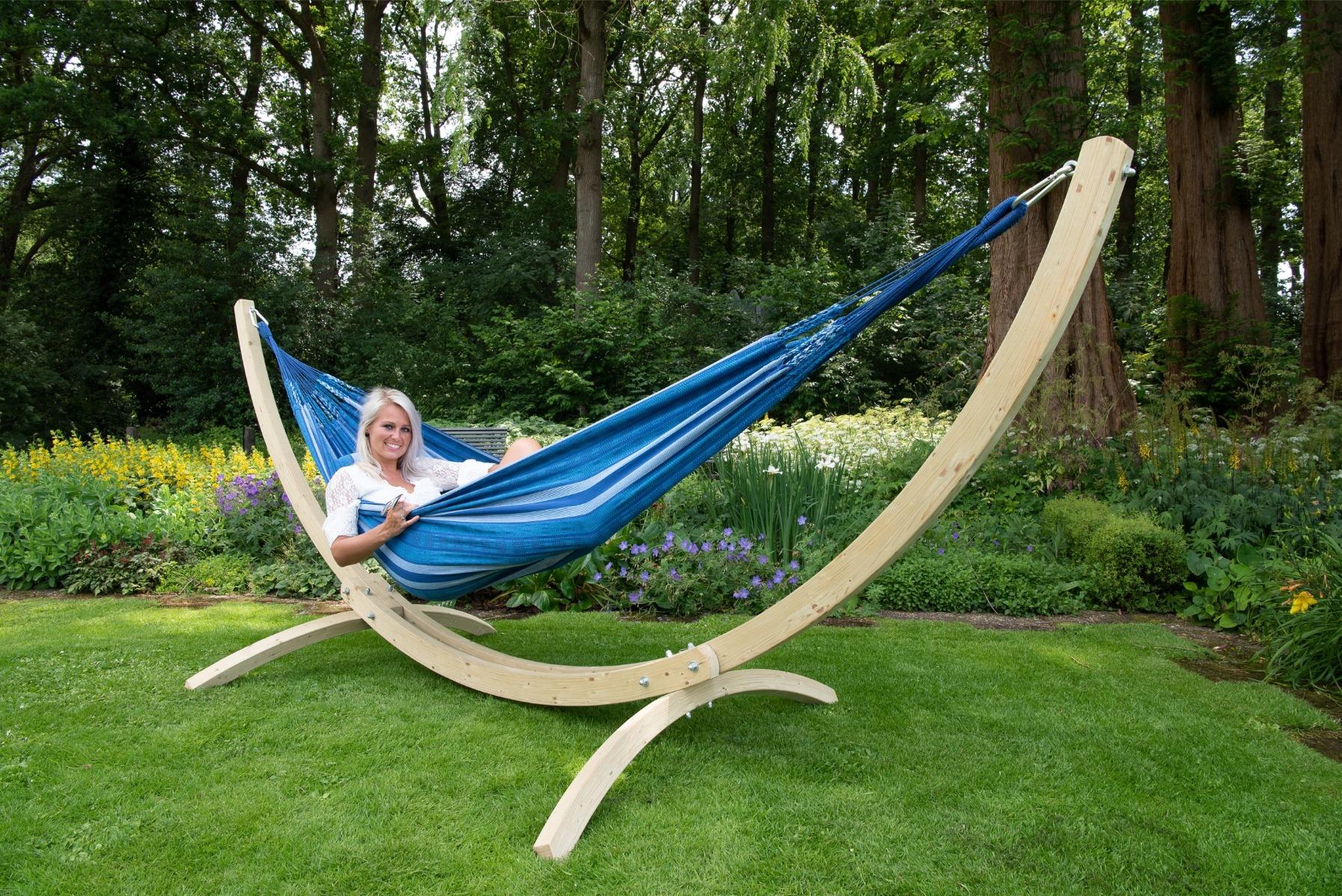 Hangmat met Standaard Tweepersoons 'Wood & Chill' Calm - Blauw - Tropilex �