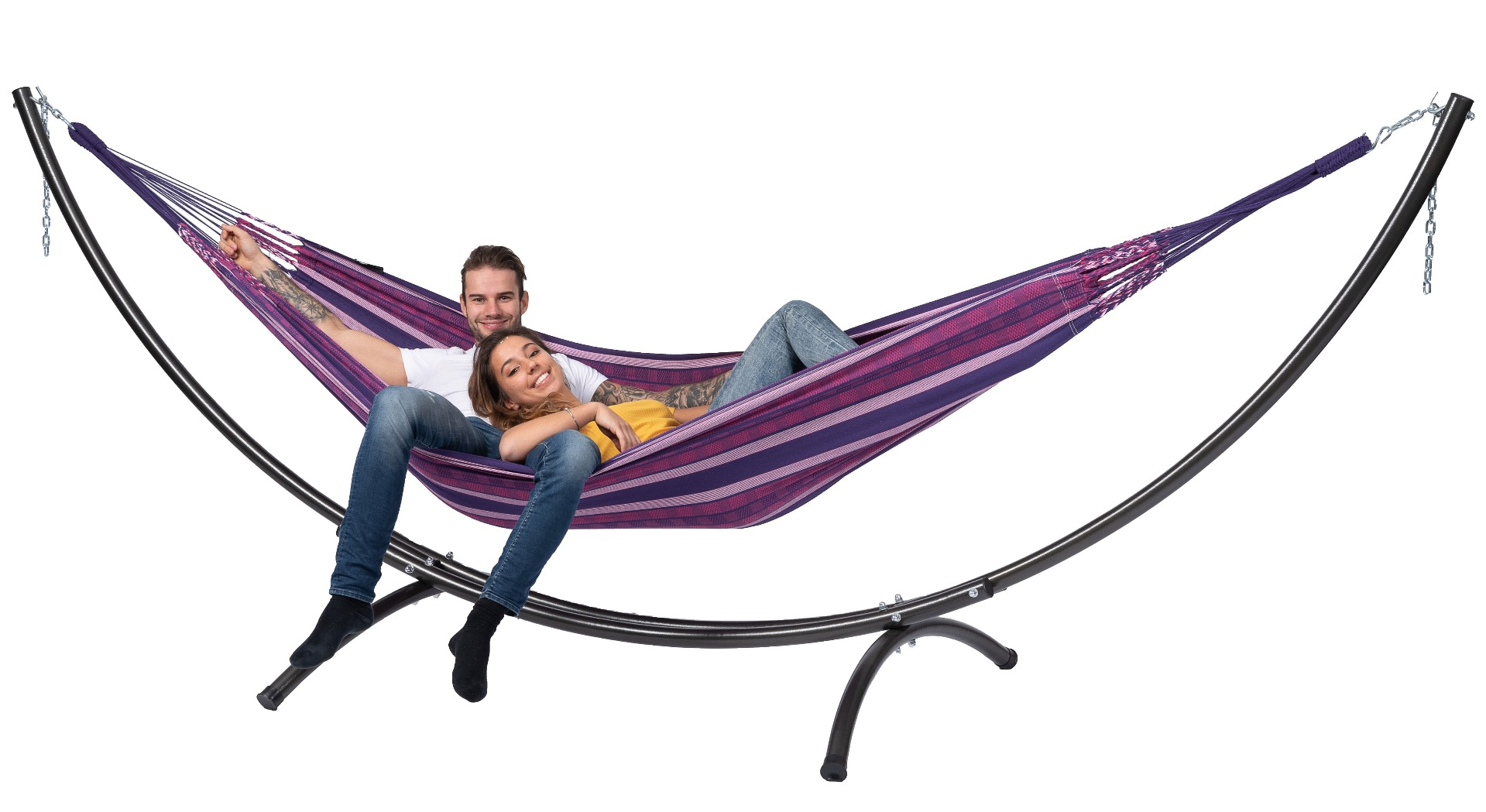 Hangmat met Standaard Tweepersoons 'Arc & Chill' Love - Paars - Tropilex �