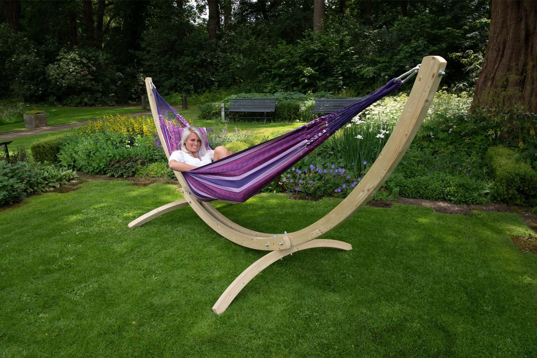 Hangmat met Standaard Tweepersoons 'Wood & Chill' Love - Paars - Tropilex �