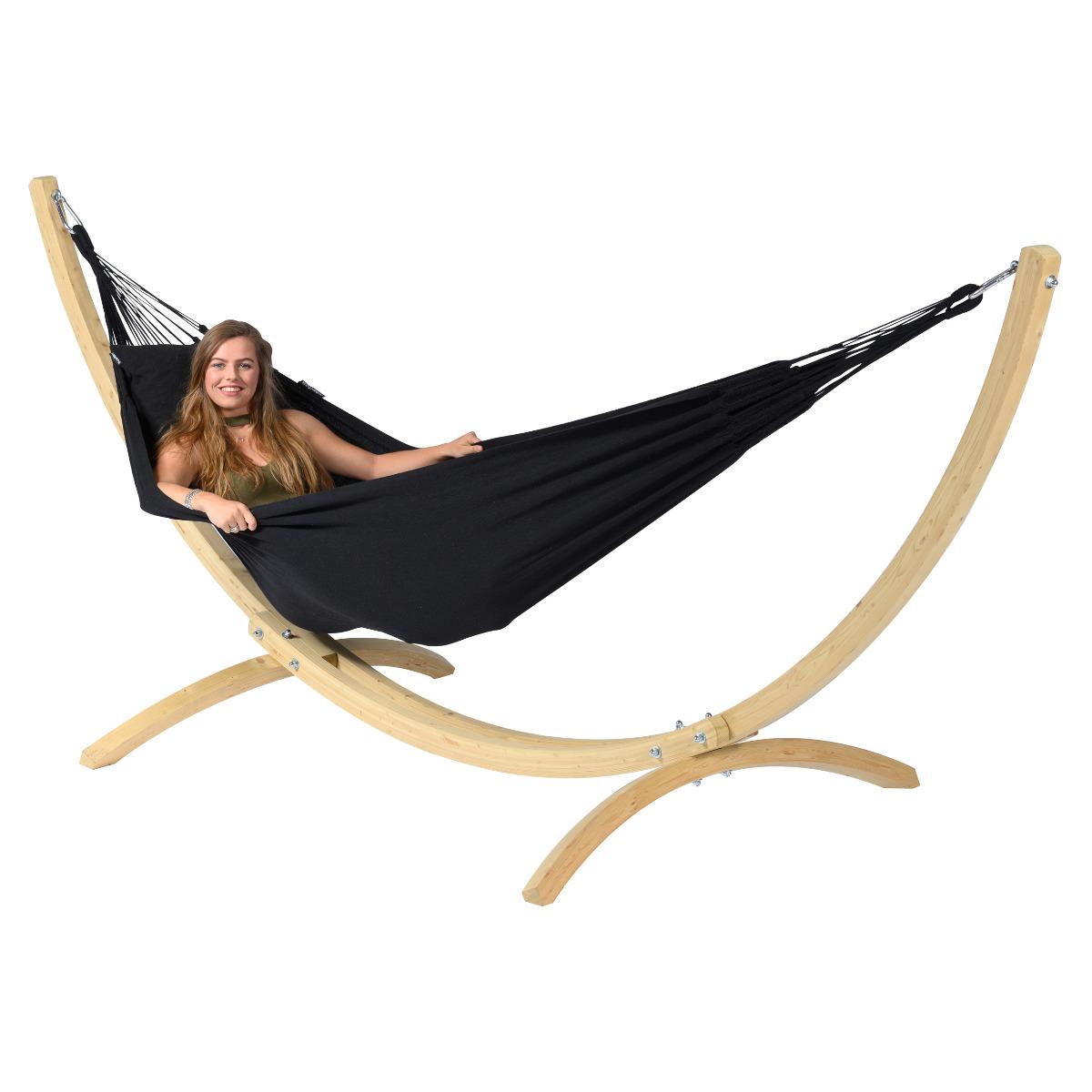 Hangmat met Standaard E�npersoons 'Wood & Classic' Black - Zwart - Tropilex �