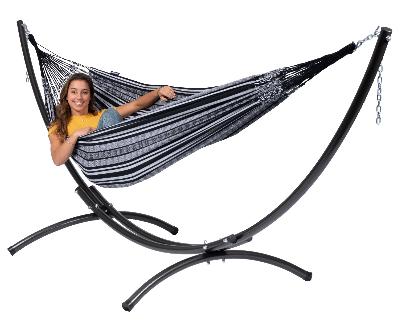 Hangmat met Standaard Tweepersoons 'Arc & Comfort' Black White