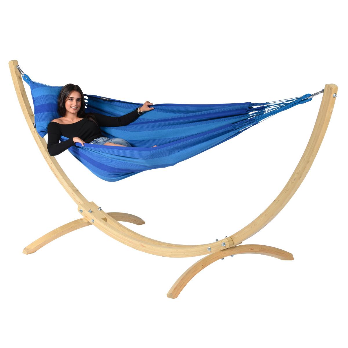 Hangmat met Standaard E�npersoons 'Wood & Dream' Blue - Blauw - Tropilex �