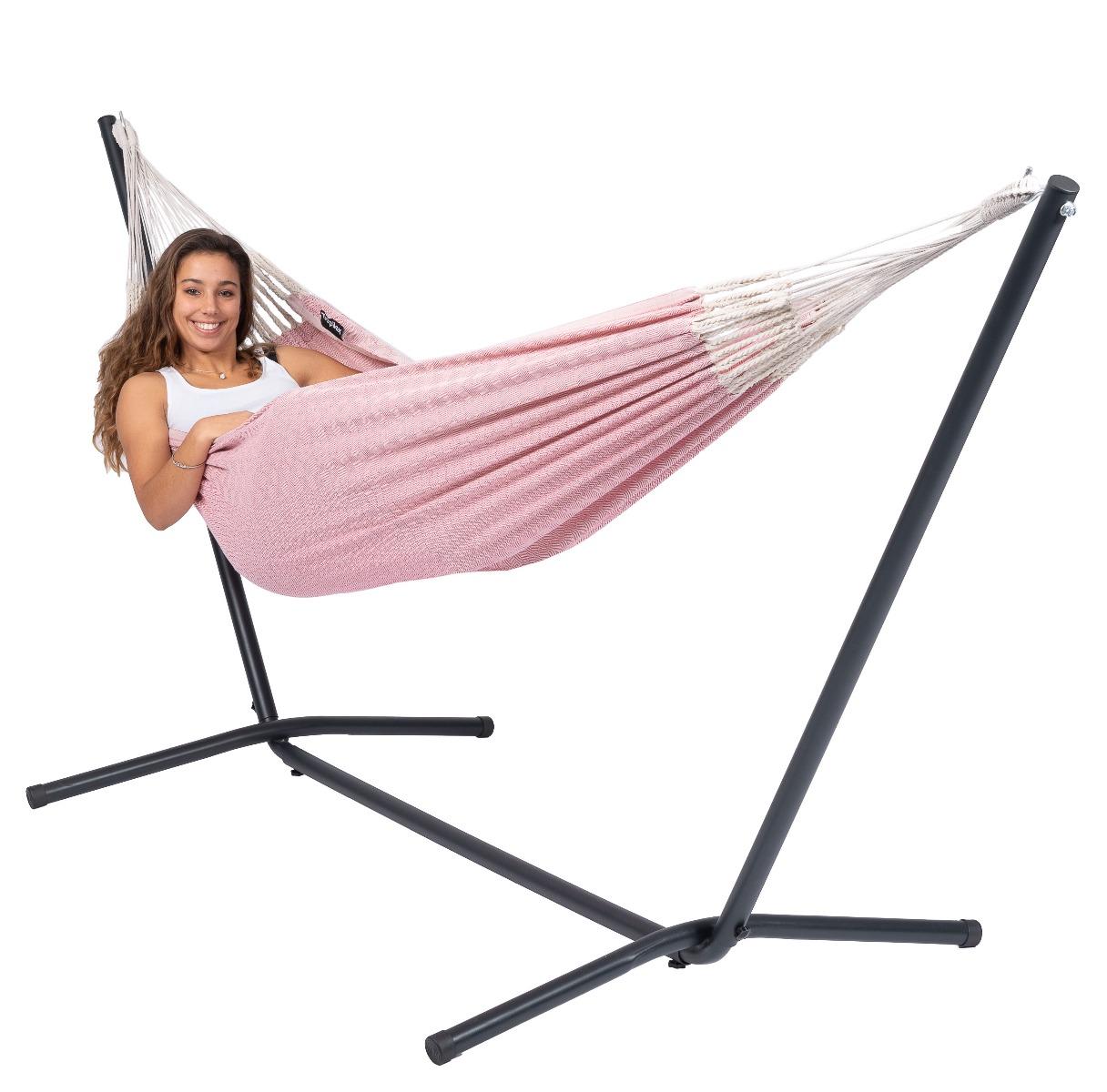 Hangmat met Standaard Eénpersoons 'Easy & Natural' Pink - Roze - Tropilex ®
