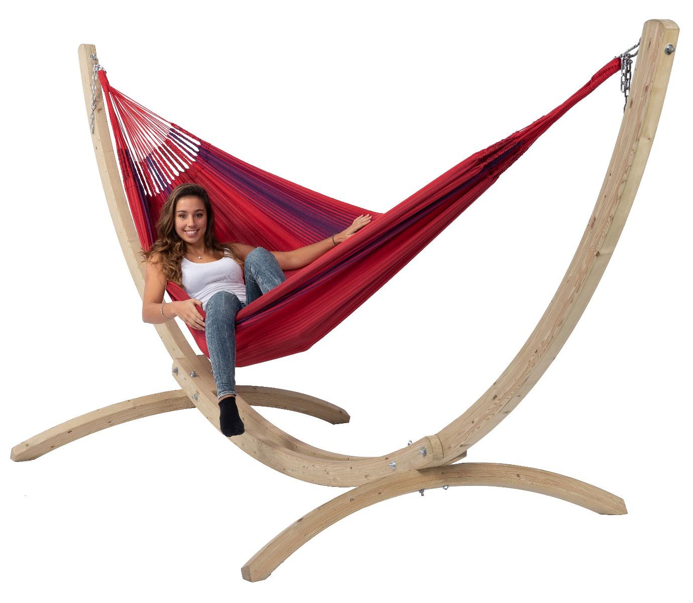 Hangmat met Standaard Familie 'Wood & Refresh' Bordeaux - Rood - Tropilex ®