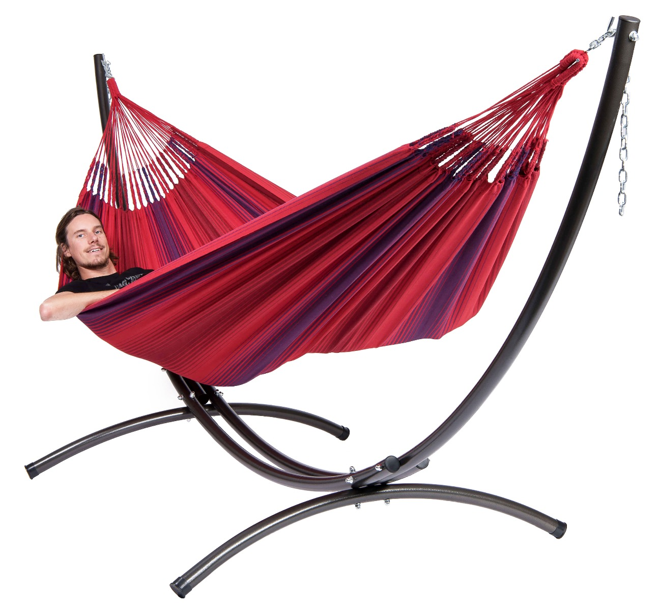 Hangmat met standaard familie in de kleur rood van het merk tropilex ®. hangmat met standaard familie uit de ...