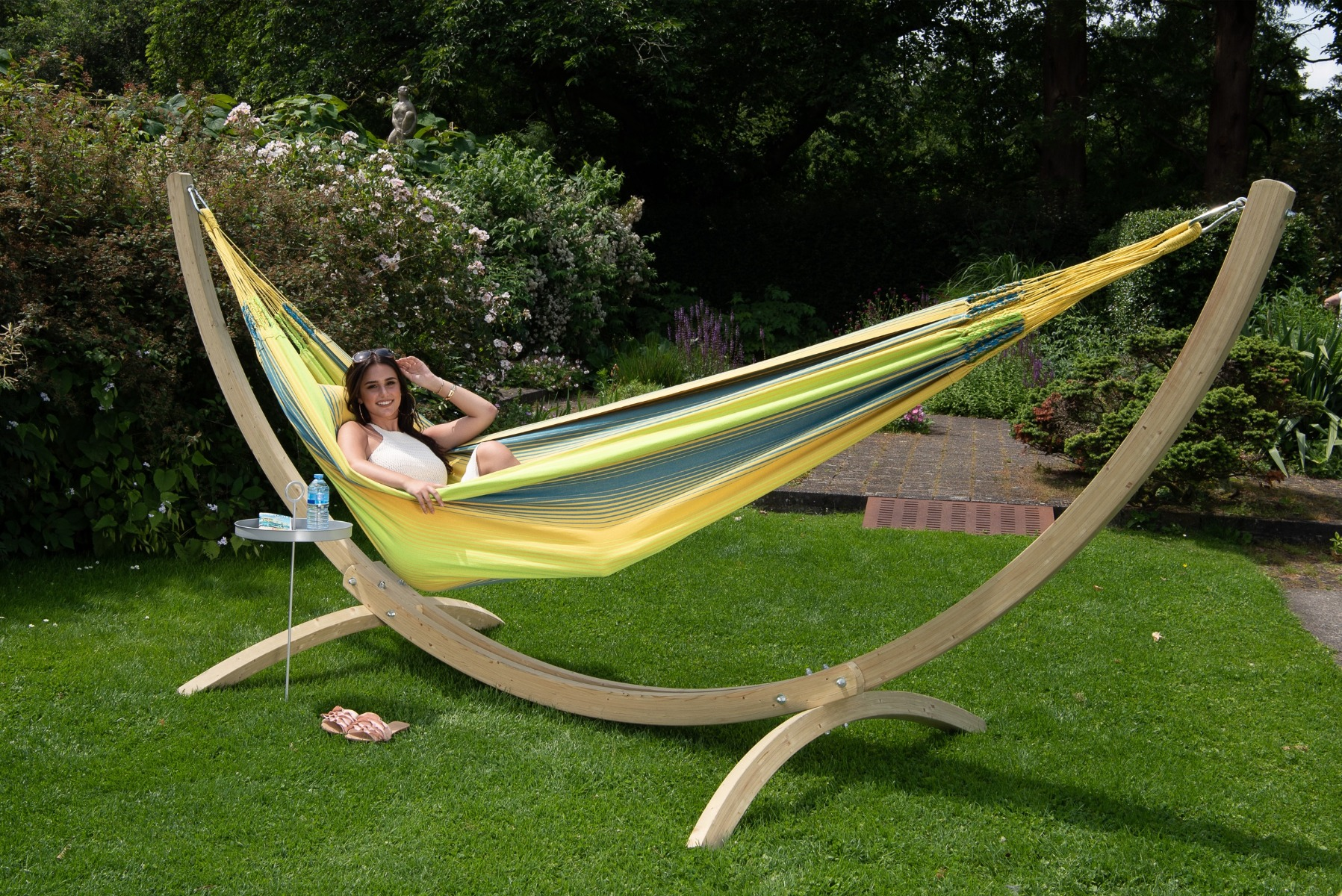Hangmat met Standaard Familie 'Wood & Refresh' Cocktail - Geel - Tropilex �