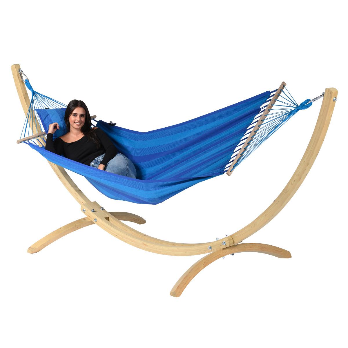 Hangmat met Standaard E�npersoons 'Wood & Relax' Blue - Blauw - Tropilex �