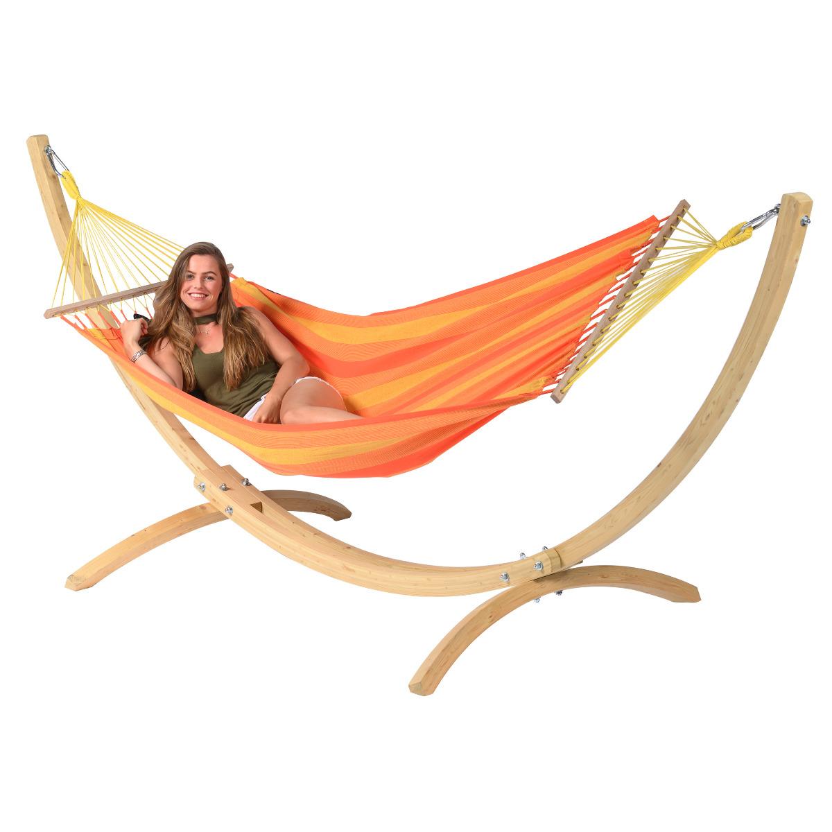 Hangmat met Standaard E�npersoons 'Wood & Relax' Orange - Oranje - Tropilex �