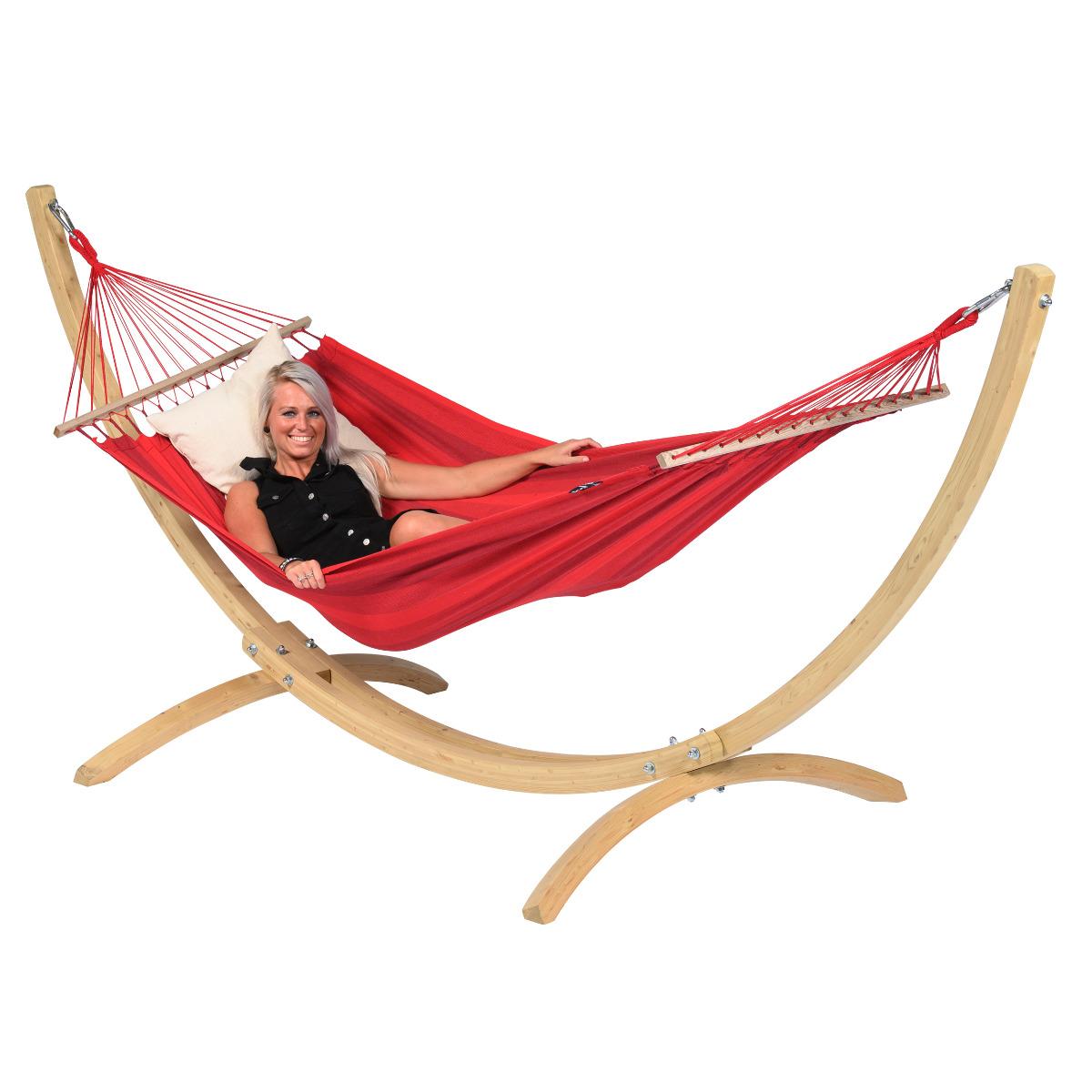 Hangmat met Standaard E�npersoons 'Wood & Relax' Red - Rood - Tropilex �