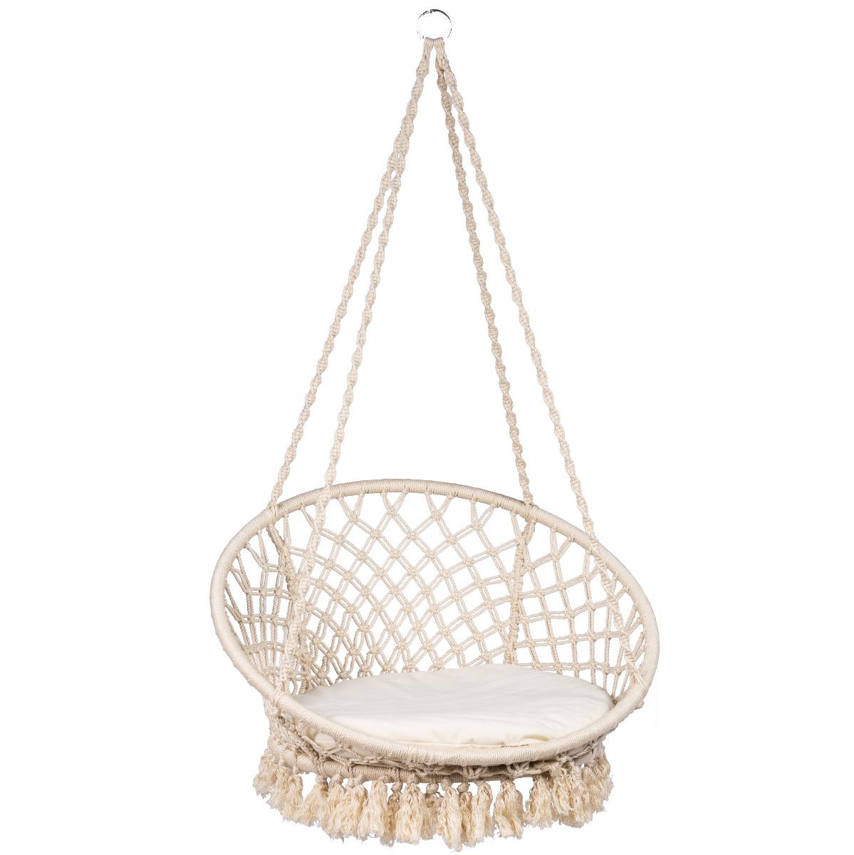Hangstoel E�npersoons 'Macram�' White - Wit - Ecru - Tropilex �