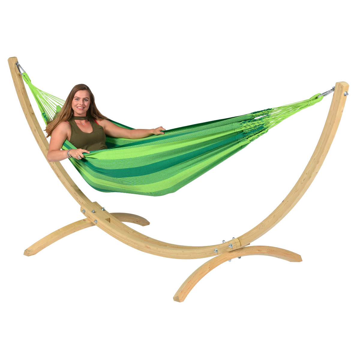 Hangmat met Standaard E�npersoons 'Wood & Dream' Green - Groen - Tropilex �
