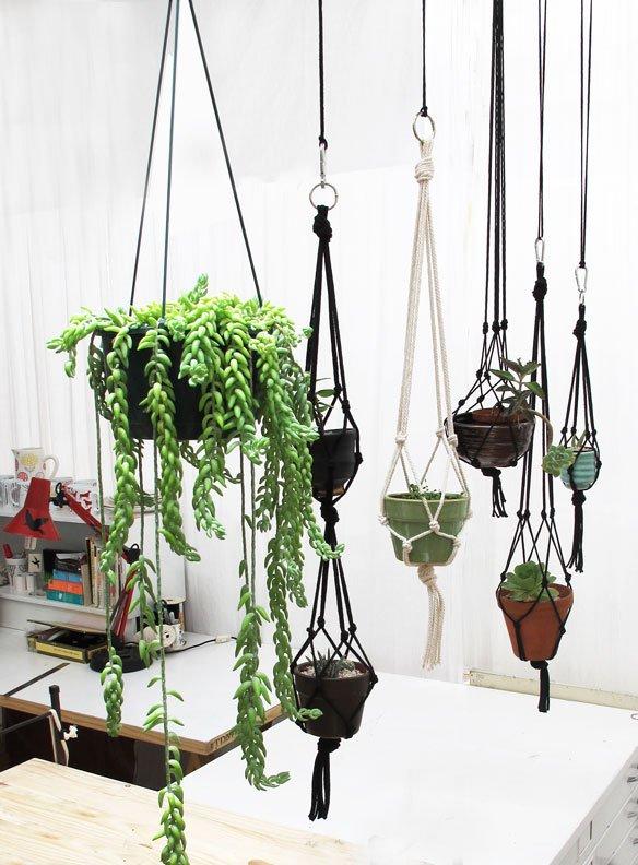 macrame hangende planten hangstoel